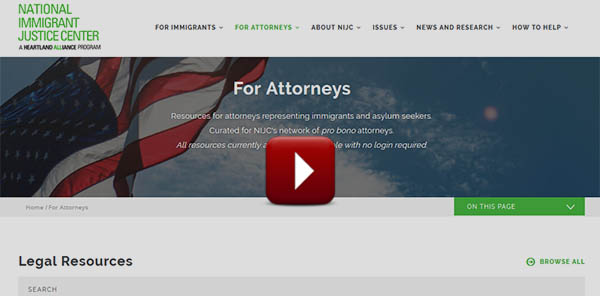 "screenshot of new ""For Attorneys"" section of NIJC's website"