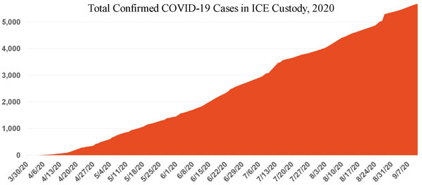 Shaded  line graph showing steady upward trajectory of number of COVID-19 cases total in ICE detention from March to September 2020