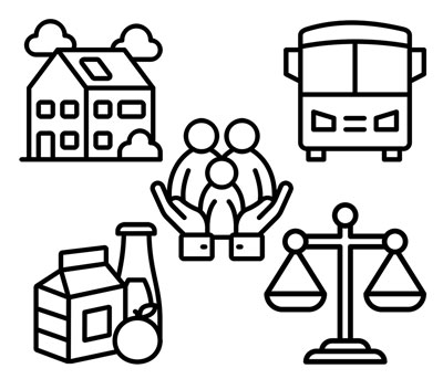Illustrations of a house, bus, food, and justice scales. In the center of these images is an illustration of a family held in the palms of two hands.