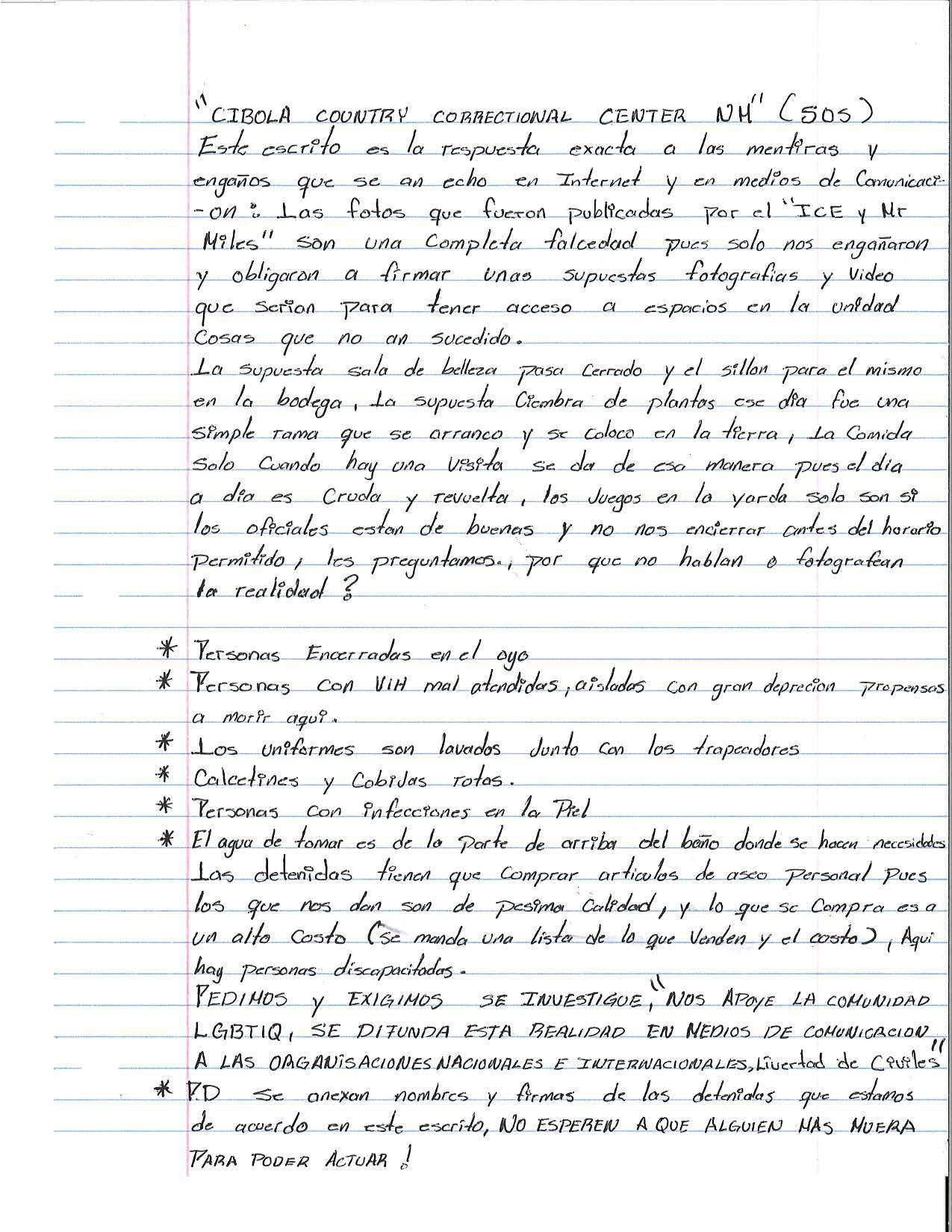 Image of the letter from trans detainees