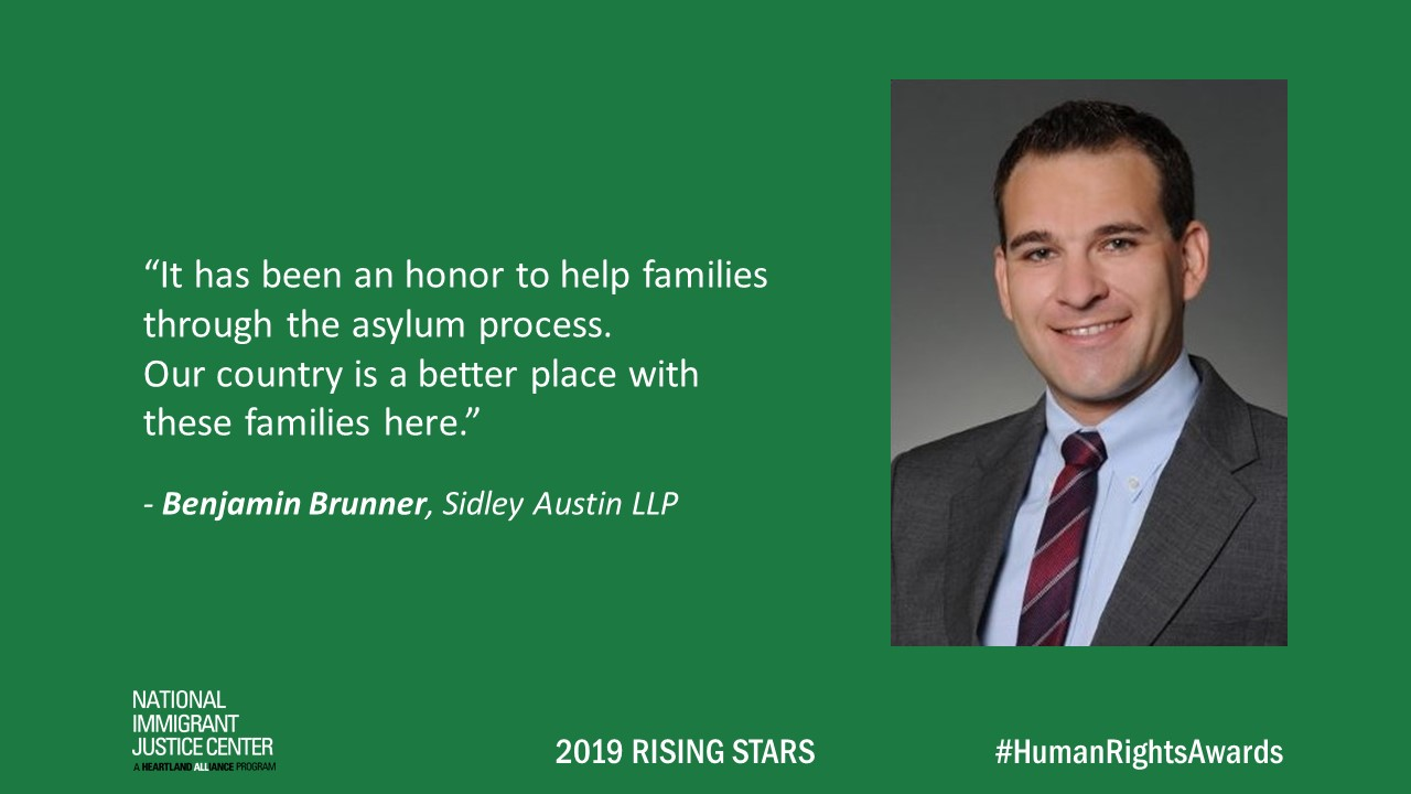 Image with picture of and quote from Benjamin Brunner, 2019 Rising Star