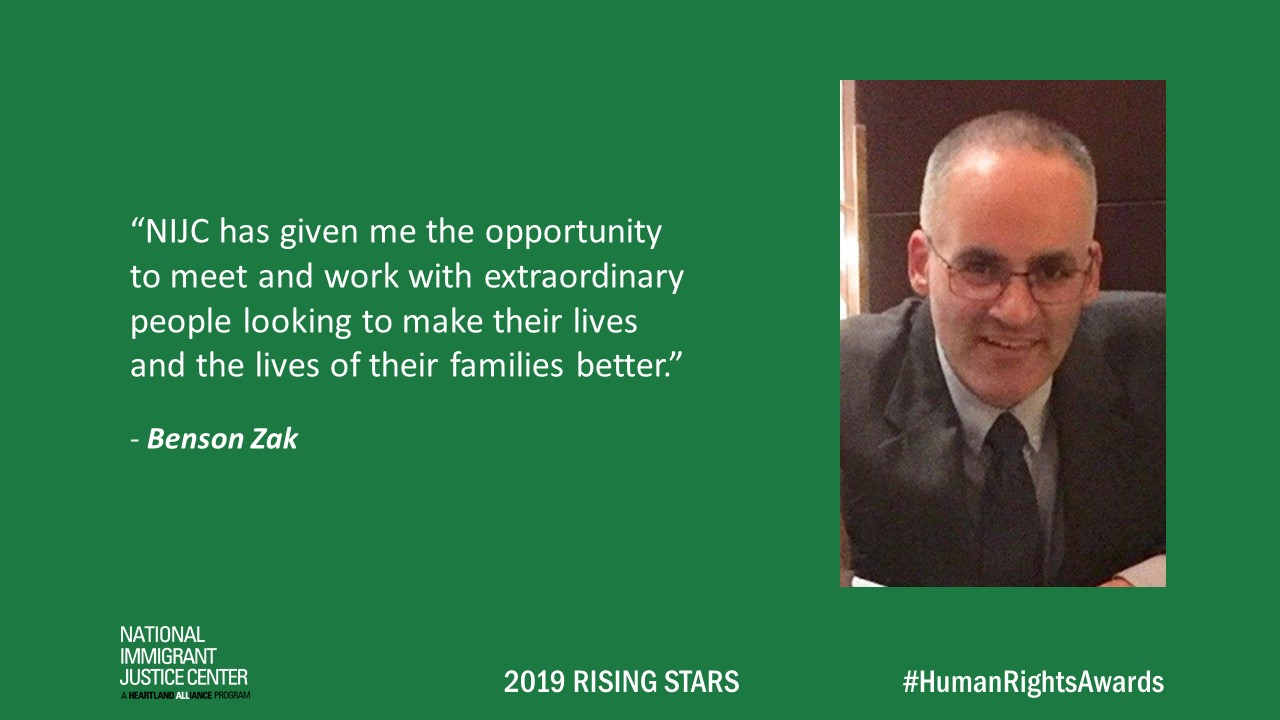 Image with picture of and quote from Benson Zak, 2019 Rising Star
