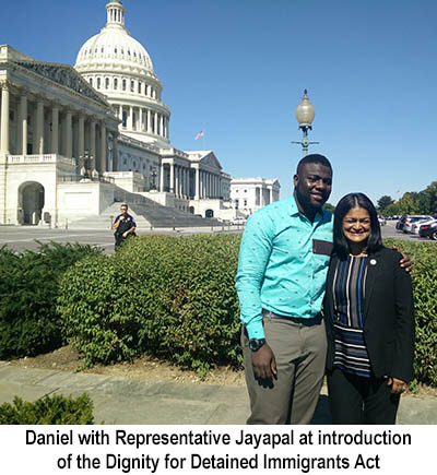 Picture of Daniel and Rep Jayapal in front of Capitol