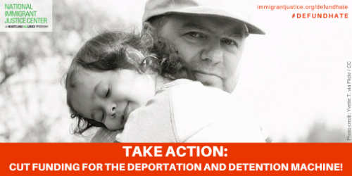 picture of a father holding a young child with text saying take action