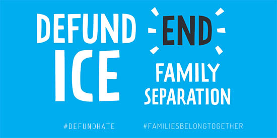 Graphic saying Defund ICE End Family Separation