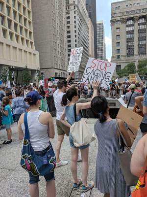 Photo of a family separation protest in Chicago in June 2018