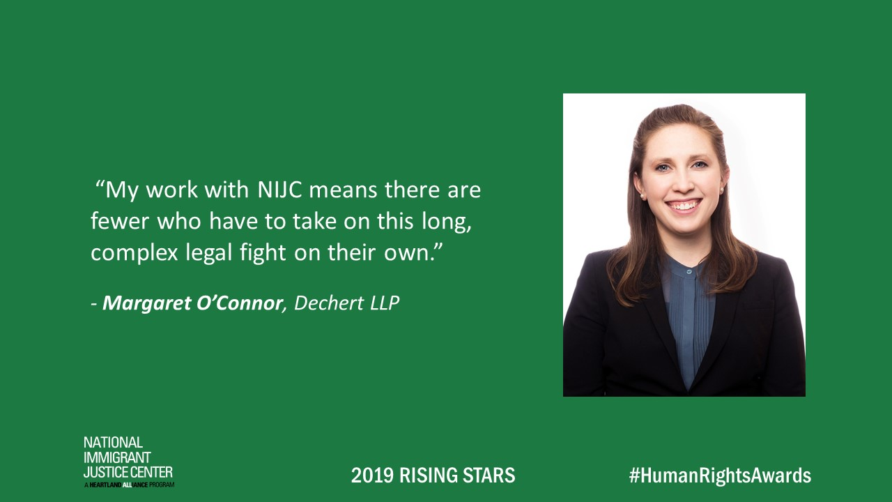 Image with picture of and quote from Margaret O'Connor, 2019 Rising Star