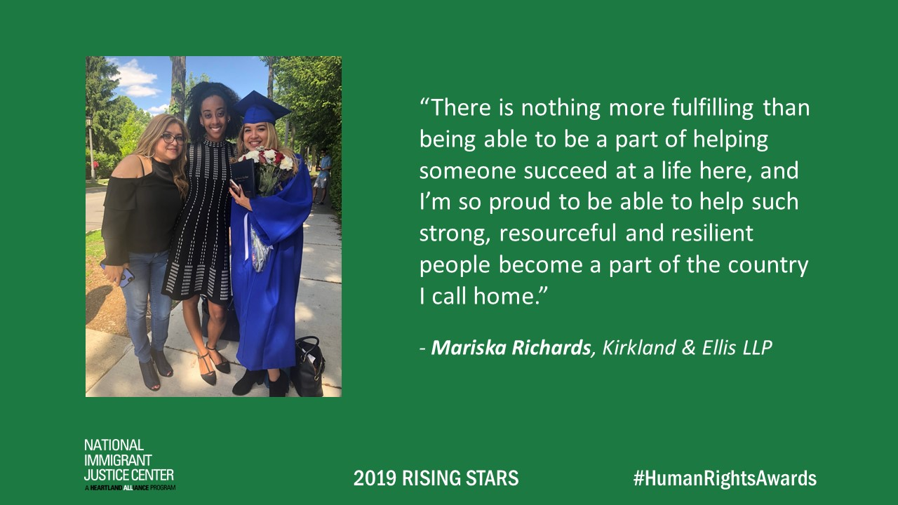 Image with picture of and quote from Mariska Richards, 2019 Rising Star