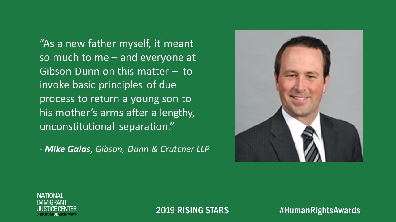Image with picture of and quote from Mike Galas, 2019 Rising Star