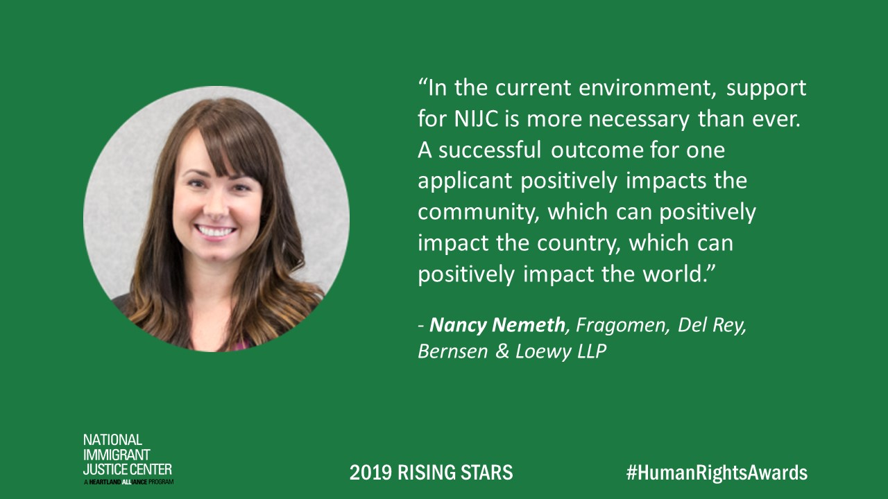 Image with picture of and quote from Nancy Nemeth, 2019 Rising Star