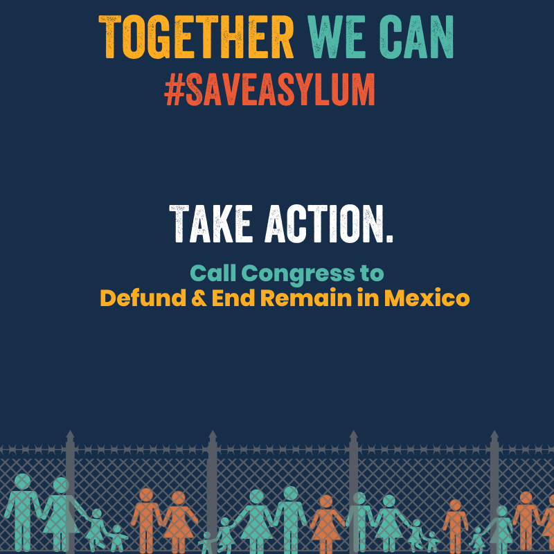 "Graphic that says in bold letters, ""Together we can #SaveAsylum"""