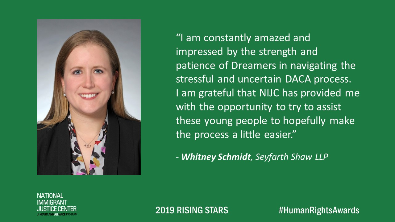 Image with picture of and quote from Whitney Schmidt, 2019 Rising Star