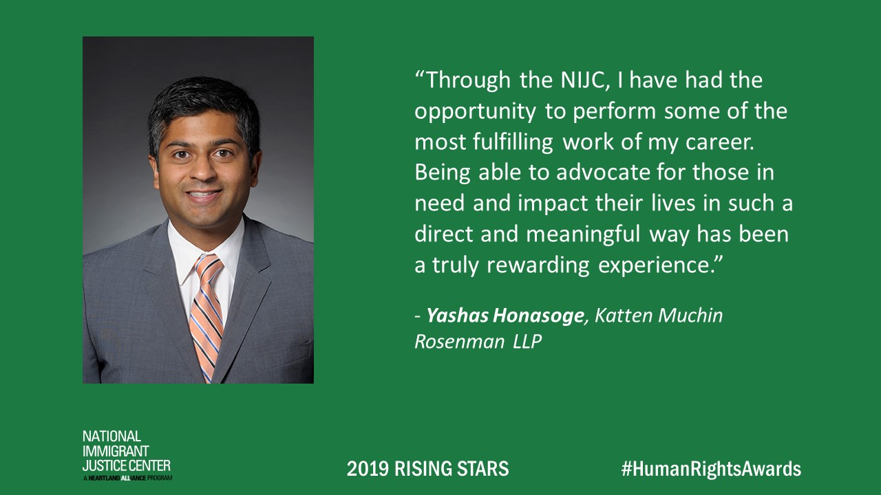 Image with picture of and quote from Yashas Honasoge, 2019 Rising Star