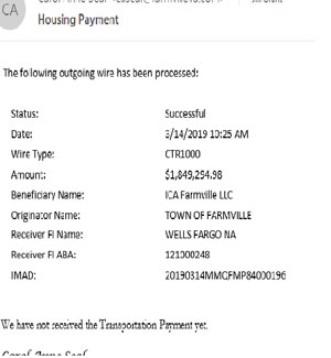 Image of a receipt for a March 2019 transfer of $1.8 million from the Town of Farmville to ICA