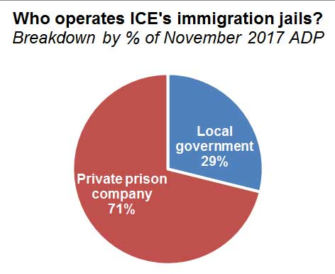 Pie chart showing breakdown of private and local government ICE jail operators