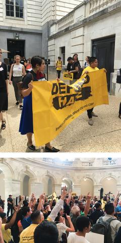 Two photos of groups of activists at a Defund Hate campaign rally inside and outside the U.S. Capitol in June 2019