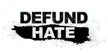 Defund Hate logo in black and white text