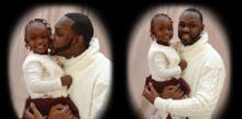 Two side-by-side vignette portraits of Issa with his young daughter. Both are wearing white clothing and the backdrop is white. In the portrait on the left, Issa is kissing his daughter on the cheek and she is looking at the camera. In the portrait on the right, both are looking at the camera.